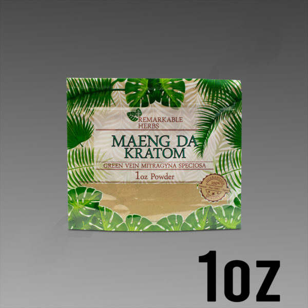 Remarkable Herbs Green Vein Maeng Da Kratom Powder 1 oz Bag