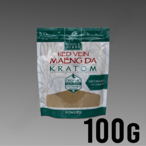 Whole Herbs Kratom - Red Vein Maeng Da Powder 100g / 3.5 oz Bag