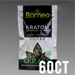 O.P.M.S. Silver - Super Green Borneo 36g, 60 Caps Kratom Part Number:650075994348