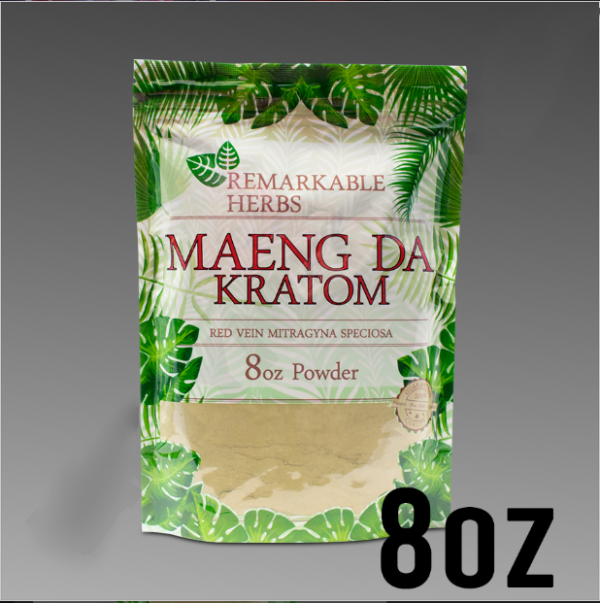 Remarkable Herbs Red Vein Maeng Da Kratom Powder 8 oz Bag / 1/2 LB