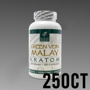 Whole Herbs Kratom - Green Vein Malay 150g, 250 Count Bottle