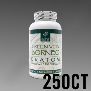 Whole Herbs Kratom - Green Vein Borneo 150g, 250 Count Bottle