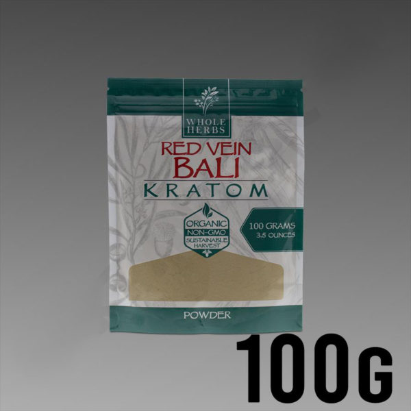 Whole Herbs Kratom - Red Vein Bali Powder 100g / 3.5 oz Bag
