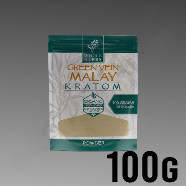 Whole Herbs Kratom - Green Vein Malay Powder 100g / 3.5 oz Bag